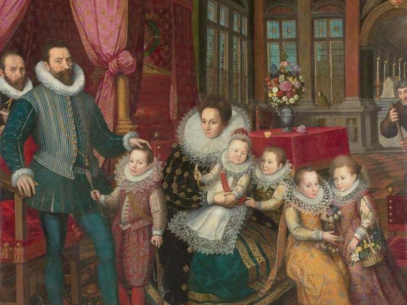 Prince Charles d'Arenberg, Anne de Croÿ et leurs enfants, Frans Pourbus le Jeune Anne de Croÿ